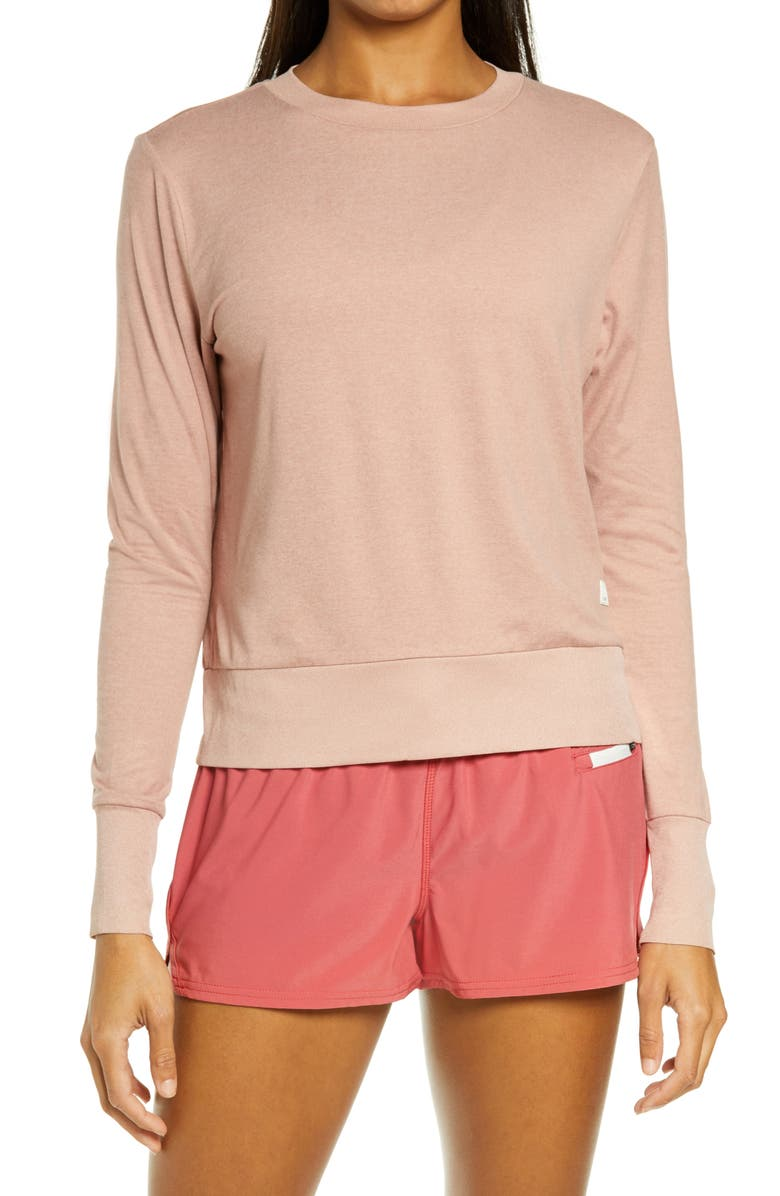 VUORI Daydream Long Sleeve Performance Crewneck Tee, Main, color, BURNT CLAY HEATHER