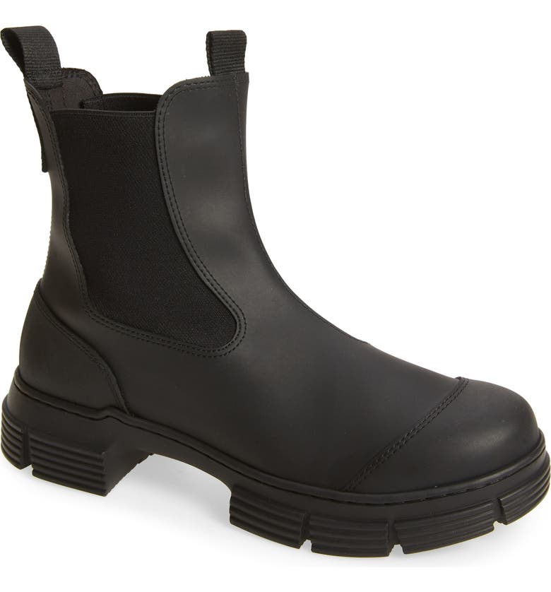 GANNI Recycled Rubber Chelsea Rain Boot, Main, color, BLACK