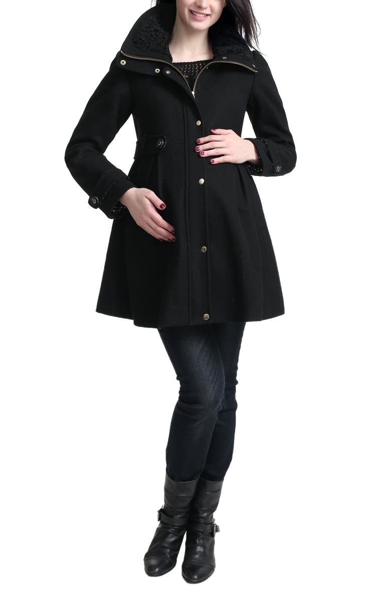 KIMI AND KAI Olivia Wool Blend Maternity Coat, Main, color, Black