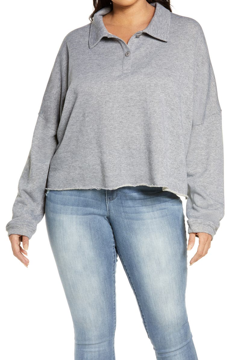 BP. French Terry Polo Top, Main, color, GREY MEDIUM HEATHER