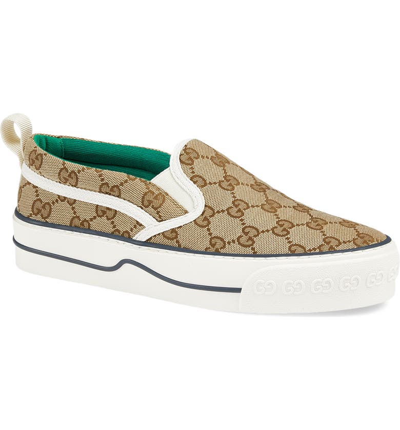 GUCCI Tennis 1977 Slip-On Sneaker, Main, color, BEIGE/ EBONY