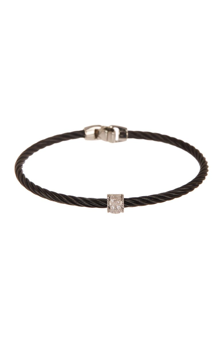 ALOR 18K Gold Pave Diamond Accented Black Twisted Cable Bangle - 0.05 ctw, Main, color, BLACK