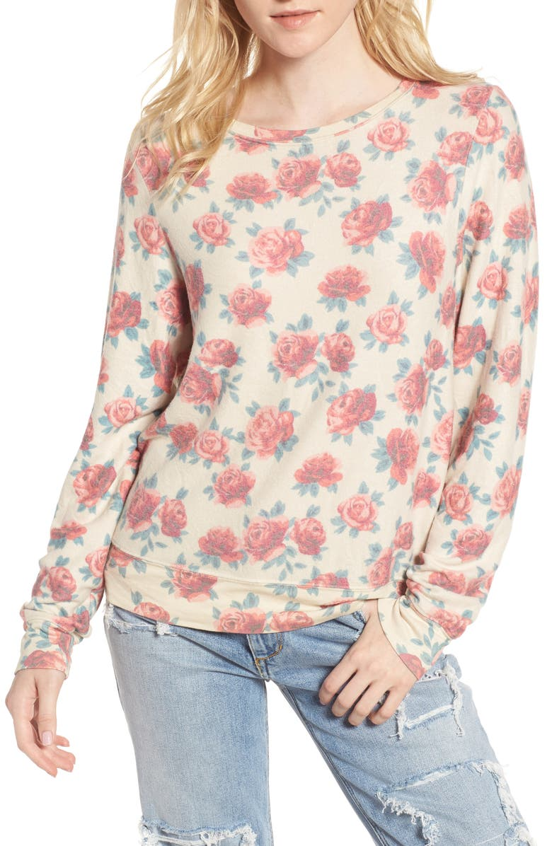 WILDFOX Rose Print Baggy Beach Jumper Pullover, Main, color, MULTI/ PALE MOON