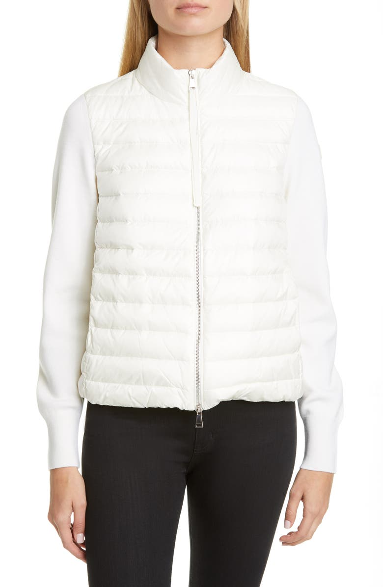 MONCLER Quilted Down & Wool Short Jacket, Main, color, WHITE