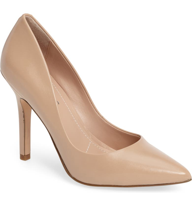 CHARLES BY CHARLES DAVID Maxx Pointed Toe Pump, Main, color, NUDE LEATHER