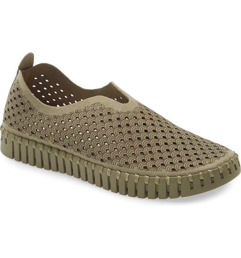 ILSE JACOBSEN Tulip 139 Perforated Slip-On Sneaker, Main, color, ALL ARMY FABRIC