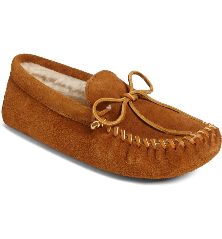 MINNETONKA Suede Moccasin with Faux Fur Lining, Main, color, BROWN SUEDE