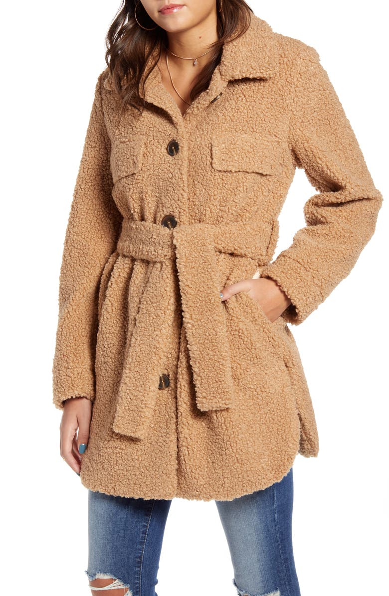 BLANKNYC Toffee Faux Shearling Belted Coat, Main, color, 250