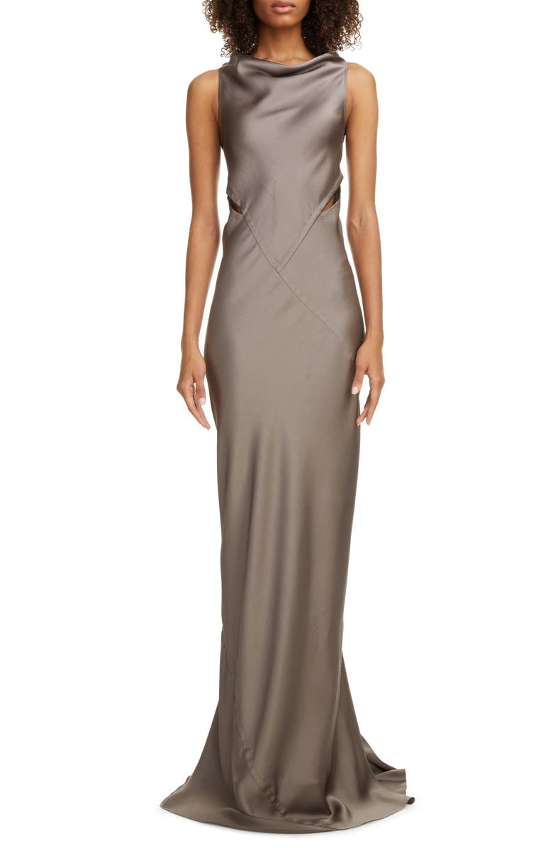 RICK OWENS Back Cutout Hammered Satin Gown, Main, color, 034