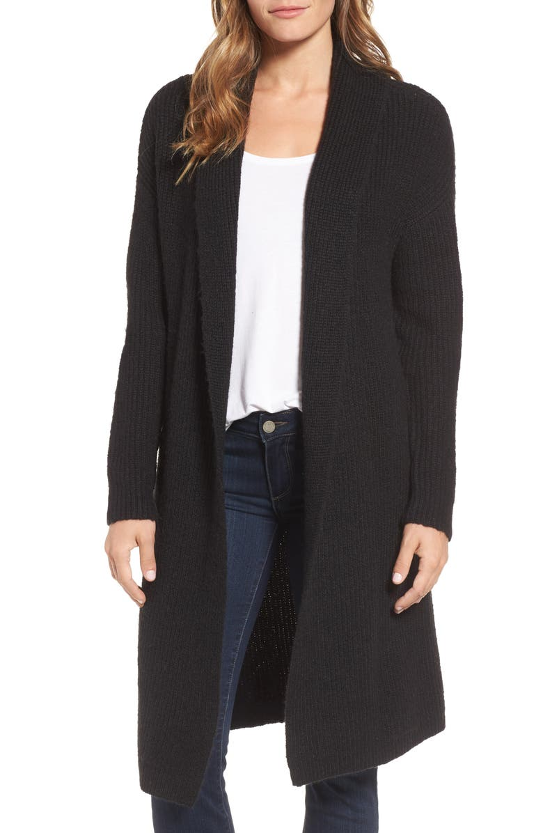 HALOGEN<SUP>®</SUP> Textured Open Front Cardigan, Main, color, 001