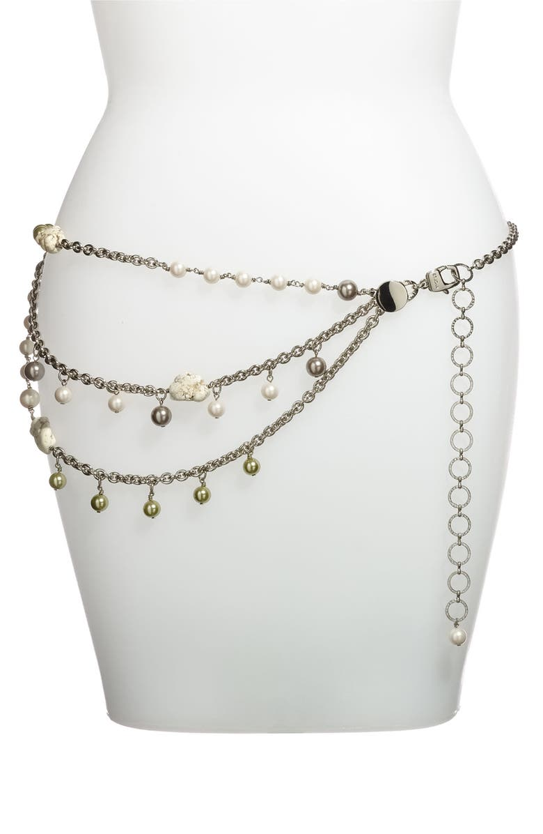 ST. JOHN COLLECTION Chain Belt with Glass Pearls & Howlite, Main, color, 710