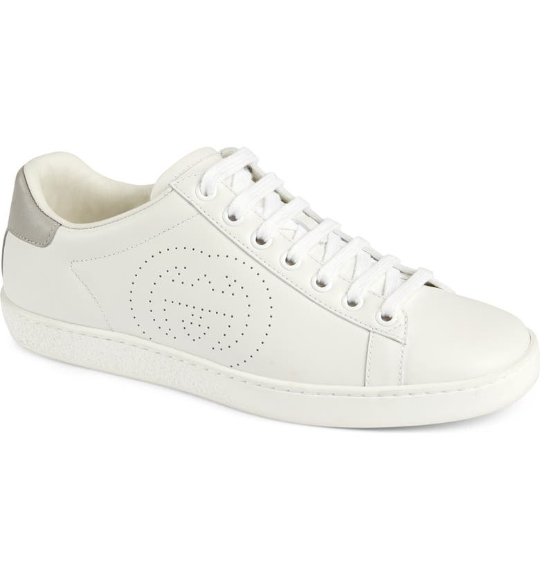 GUCCI New Ace Perforated Logo Sneaker, Main, color, WHITE