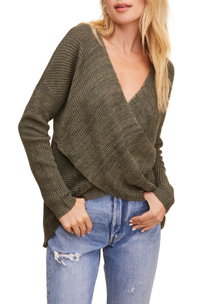ASTR THE LABEL Wrap Front Sweater, Main, color, 300