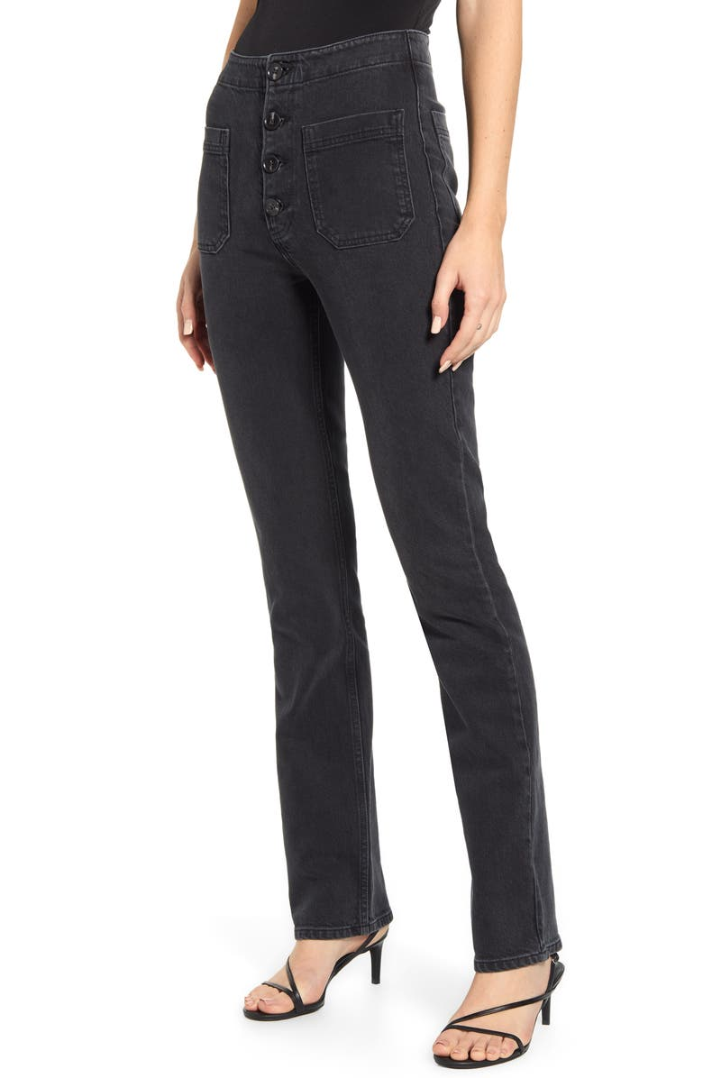 REFORMATION Elsie High Waist Straight Leg Jeans, Main, color, 001