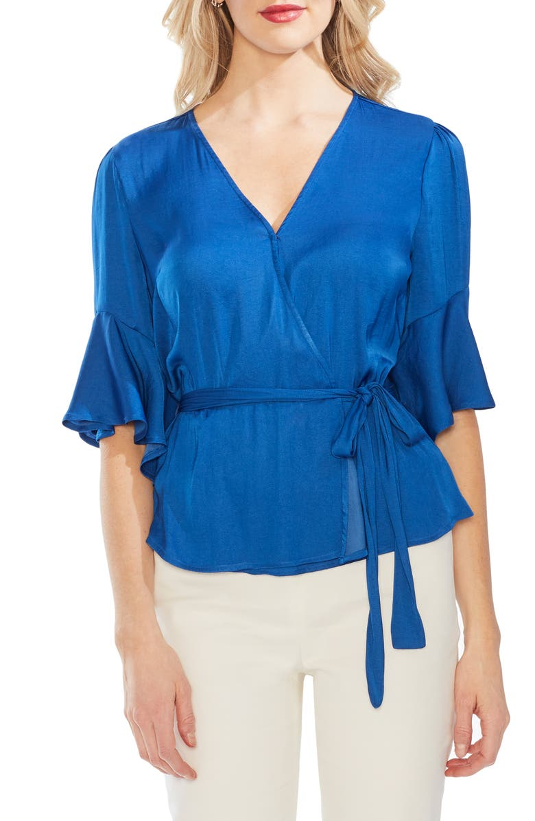 VINCE CAMUTO Ruffle Sleeve Rumpled Blouse, Main, color, 425