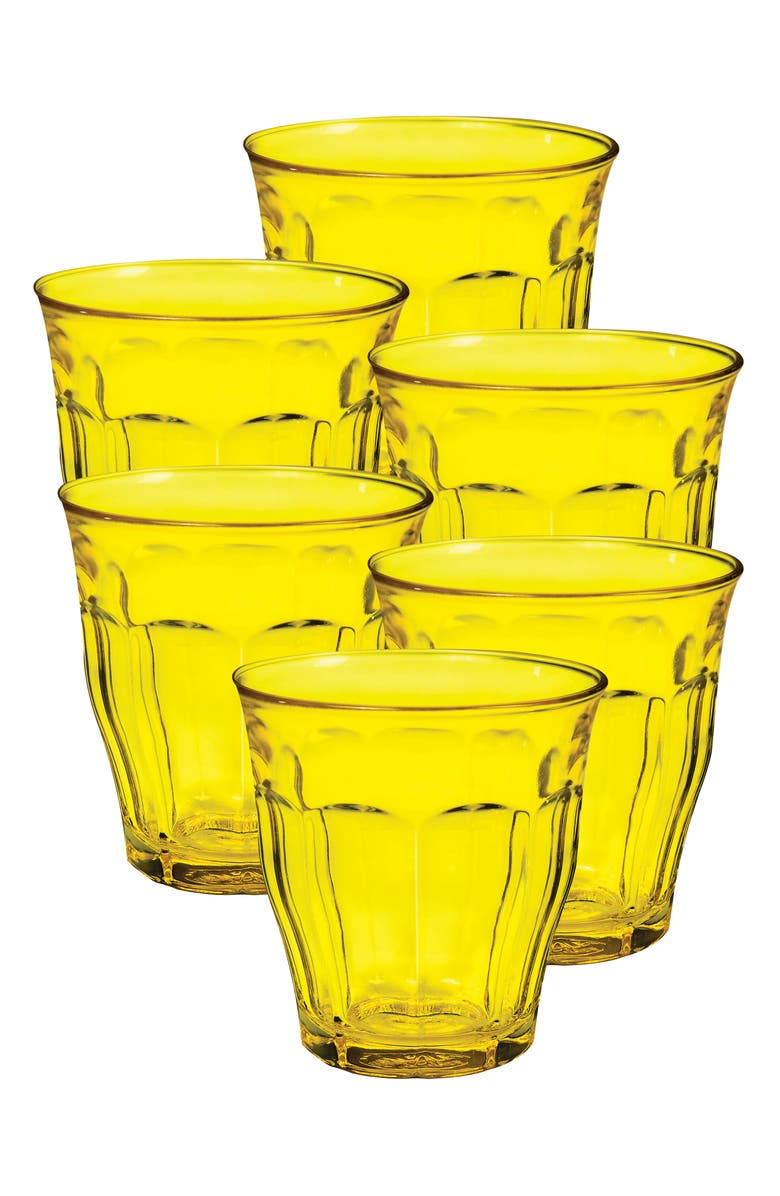 DURALEX USA Duralex Picardie Set of 6 Tempered Glass French Tumblers, Main, color, YELLOW