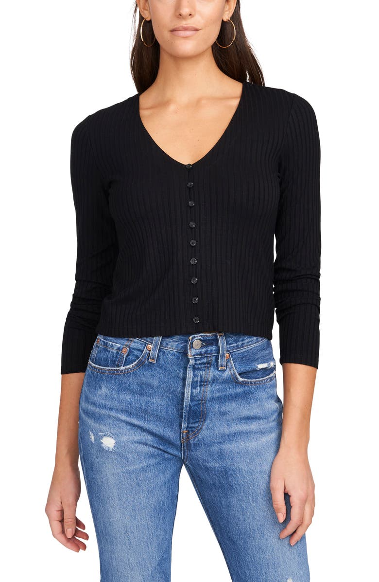 1.STATE Rib Knit Button-Up Top, Main, color, RICH BLACK