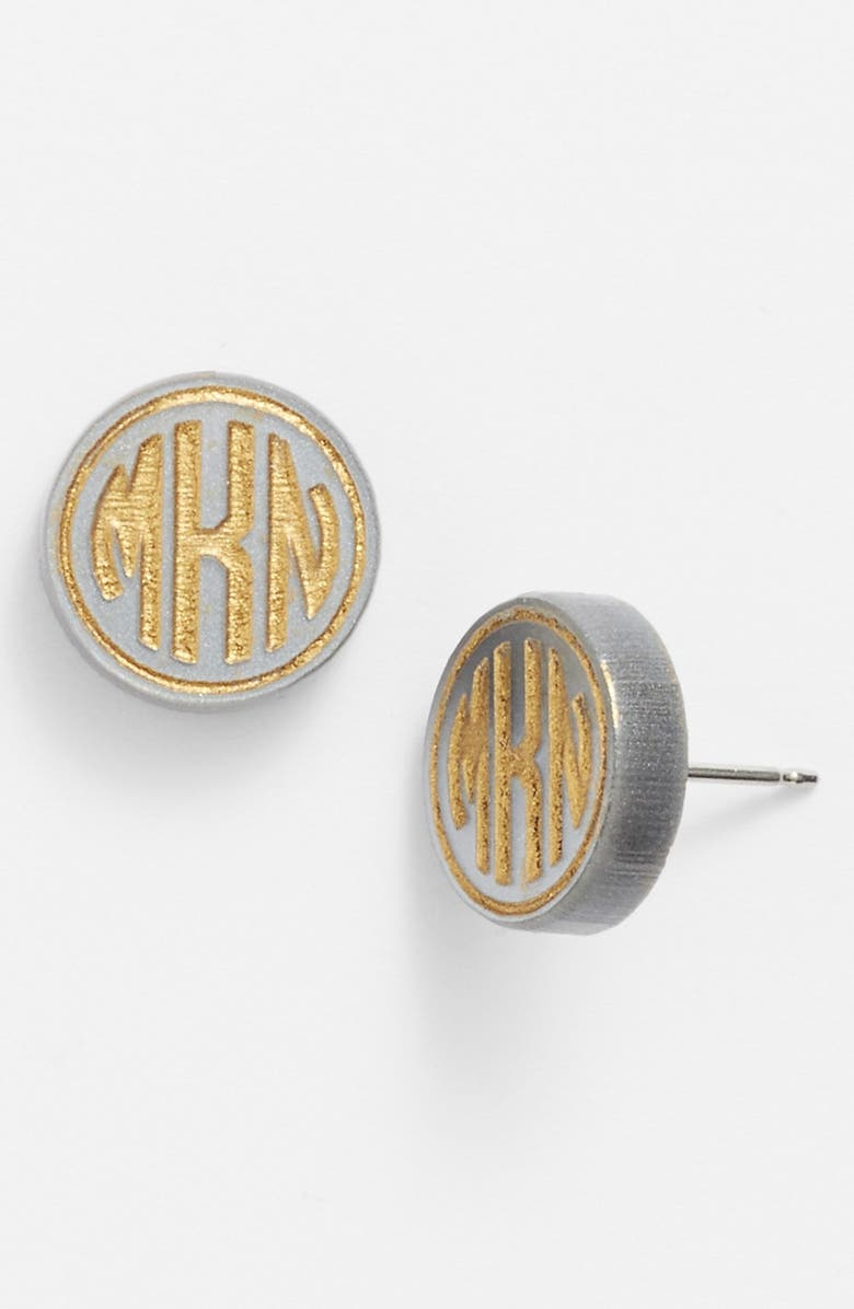 MOON AND LOLA 'Chelsea' Small Personalized Monogram Stud Earrings, Main, color, 020