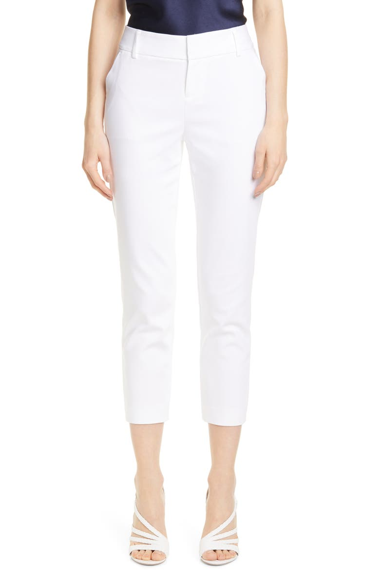 ALICE + OLIVIA Stacey Slim Stretch Cotton Blend Trousers, Main, color, WHITE