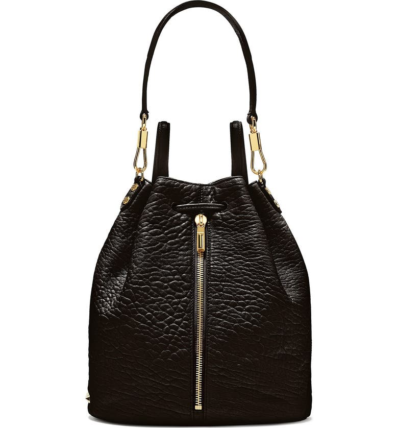 ELIZABETH AND JAMES 'Cynnie' Leather Sling Backpack, Main, color, 001