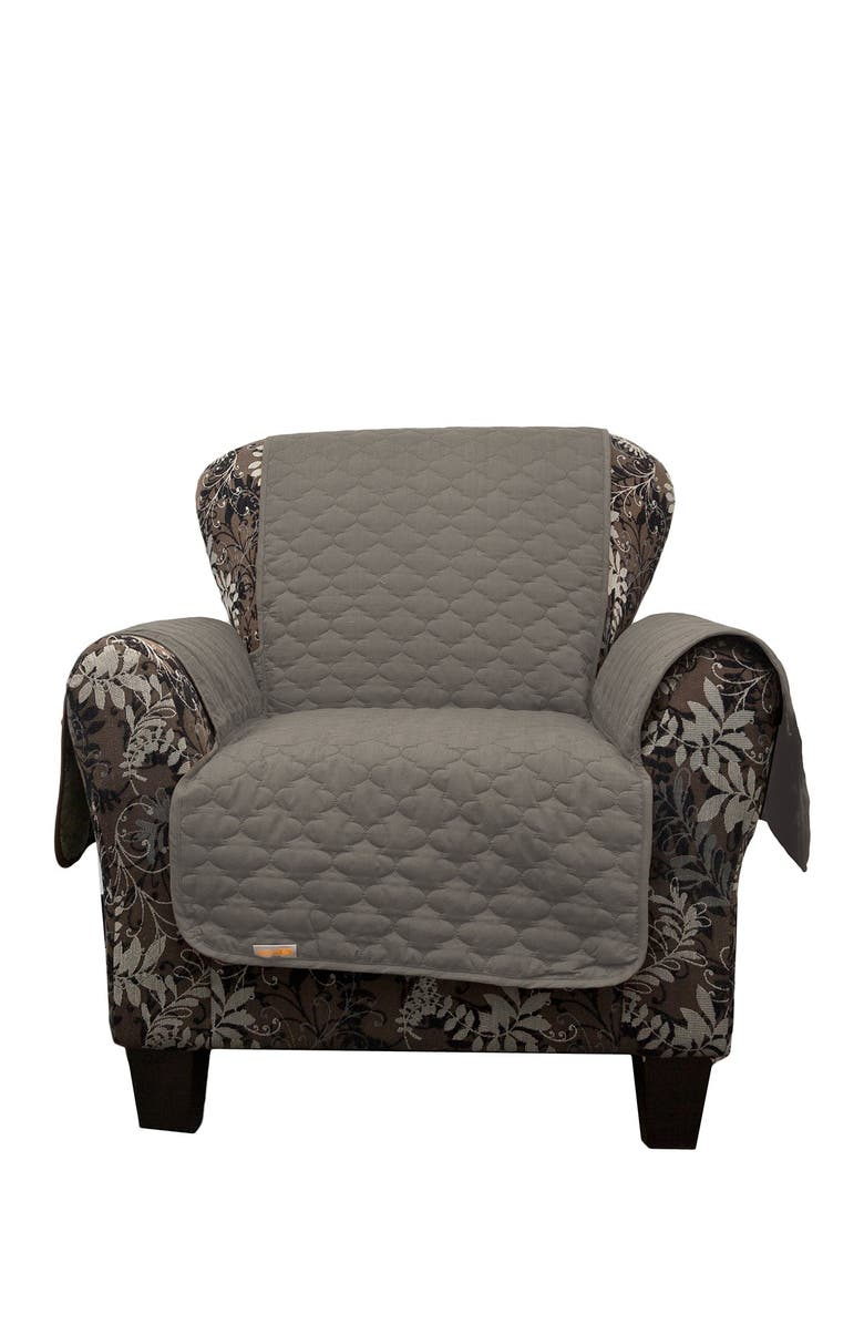 DUCK RIVER TEXTILE Grey Rhys Reversible Water Resistent Microfiber Chair Cover, Main, color, NONE