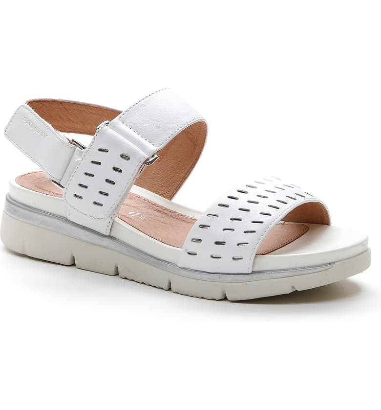 STONEFLY Elody Wedge Sandal, Main, color, CLOUD WHITE NAPPA LEATHER