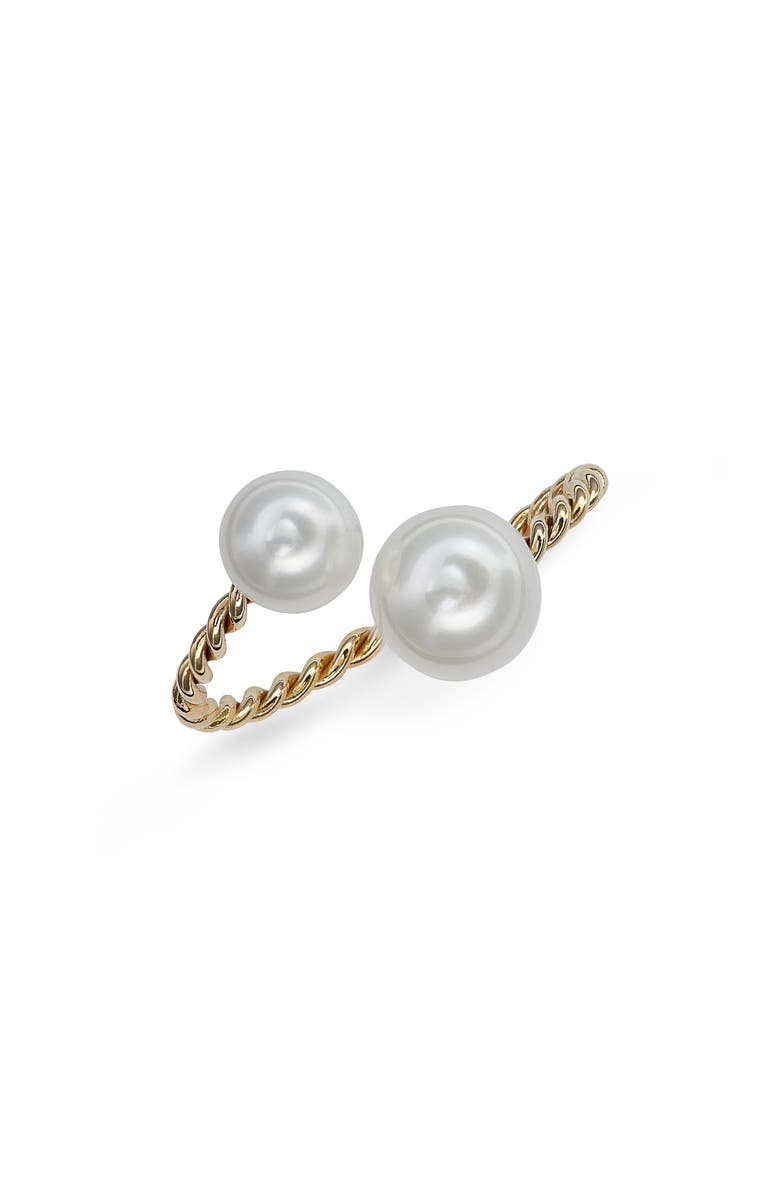 POPPY FINCH Genuine Pearl Open Ring, Main, color, YELLOW GOLD