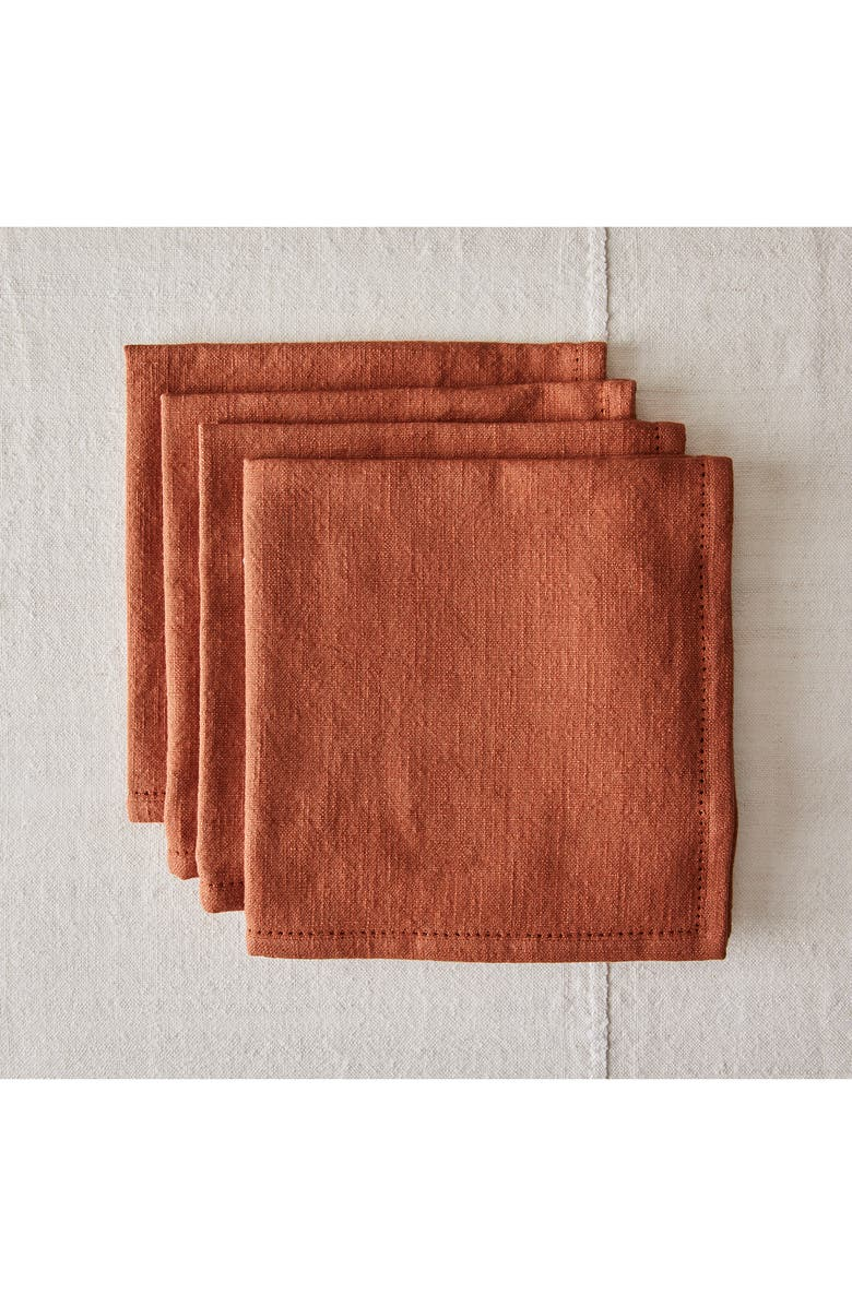 FIVE TWO BY FOOD52 Essential Set of 4 Cotton Napkins, Main, color, PAPRIKA