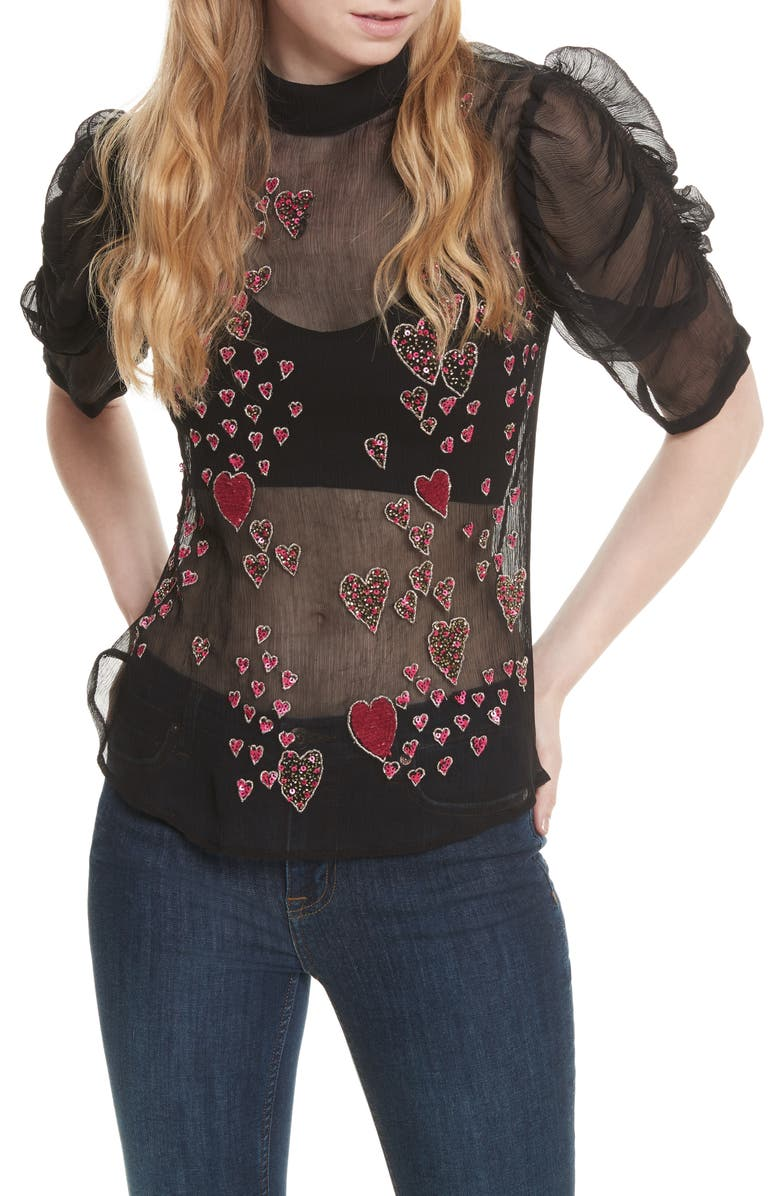 FREE PEOPLE So in Love Embroidered Blouse, Main, color, Black