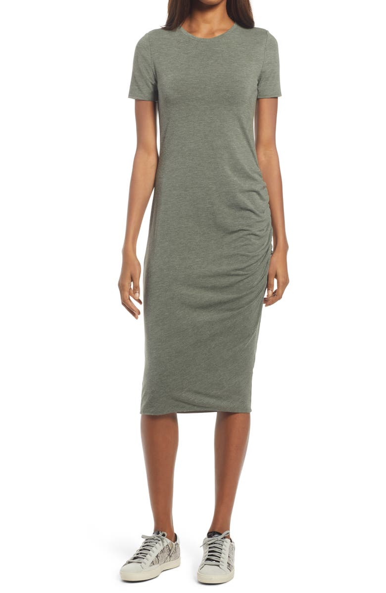 TREASURE & BOND Side Ruched Body-Con Dress, Main, color, GREEN BEETLE HEATHER