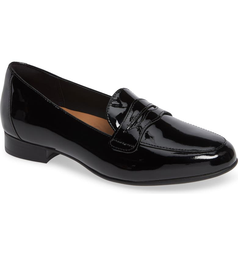 CLARKS<SUP>®</SUP> Un Blush Go Penny Loafer, Main, color, BLACK PATENT LEATHER