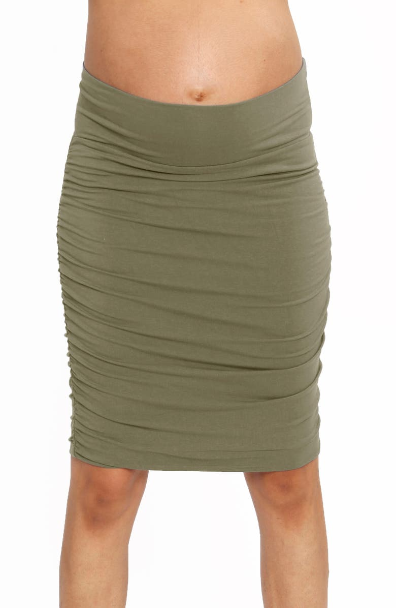 ANGEL MATERNITY Ruched Maternity Skirt, Main, color, KHAKI