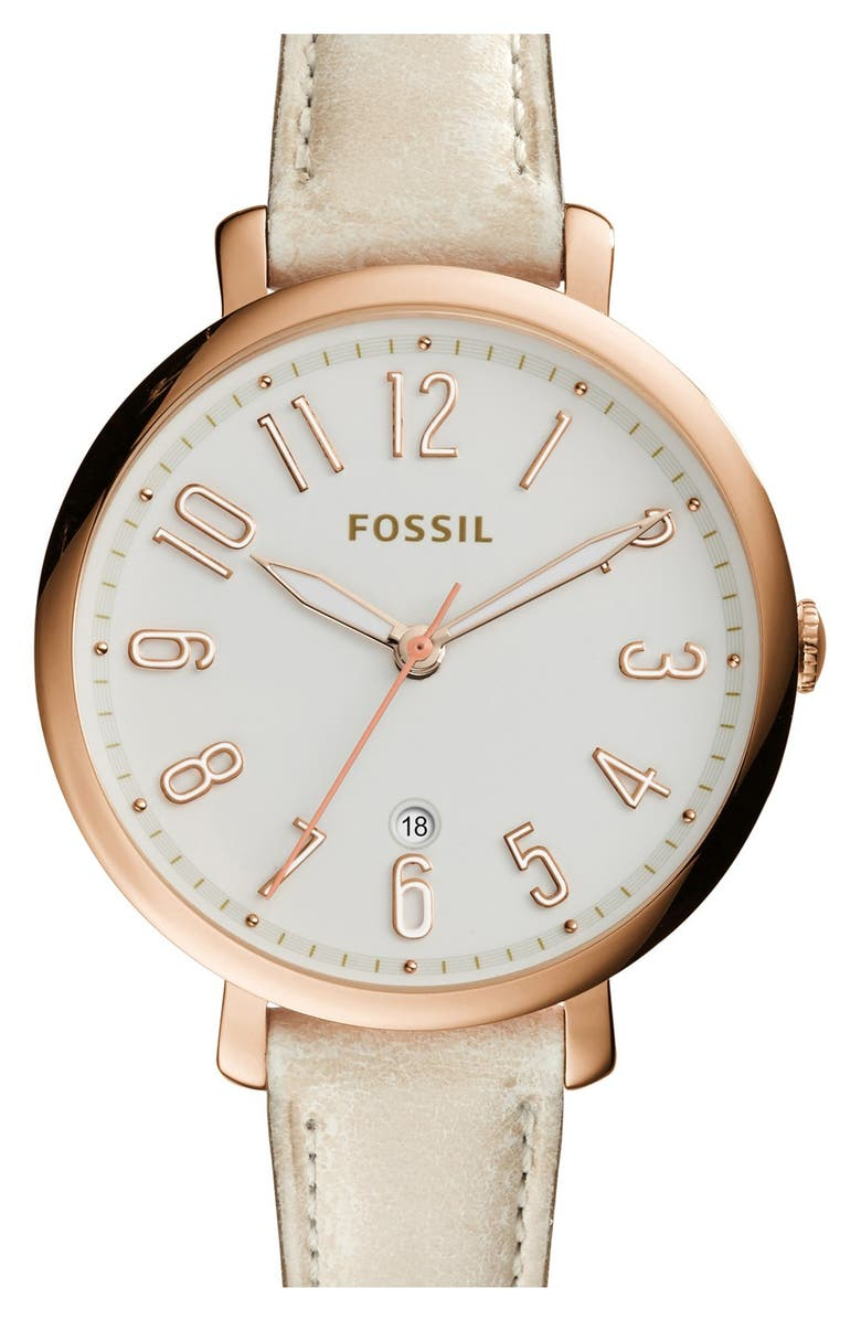 FOSSIL 'Jacqueline' Leather Strap Watch, 36mm, Main, color, 100