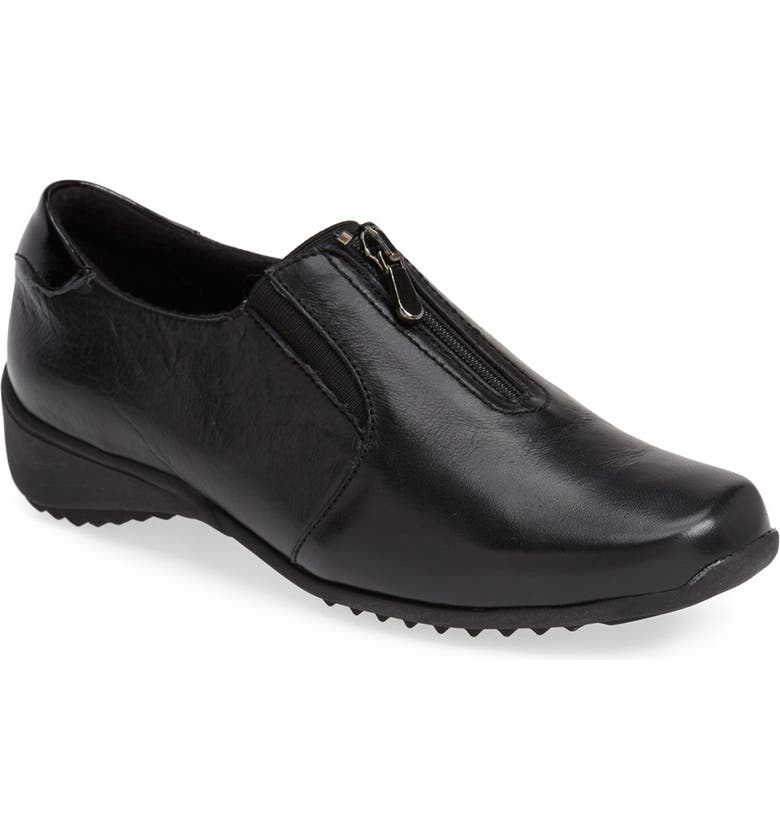 MUNRO Berkley Sneaker, Main, color, BLACK LEATHER
