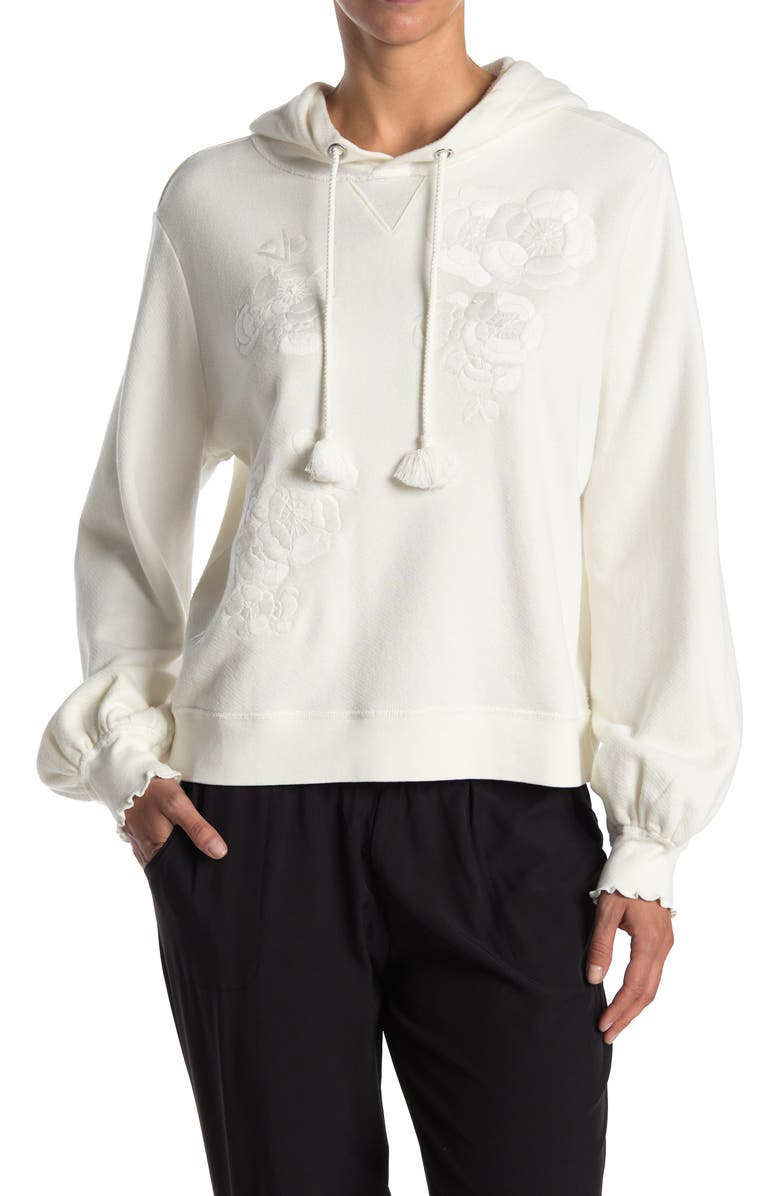 PAIGE Leighton Embroidered Hoodie, Main, color, IVORY