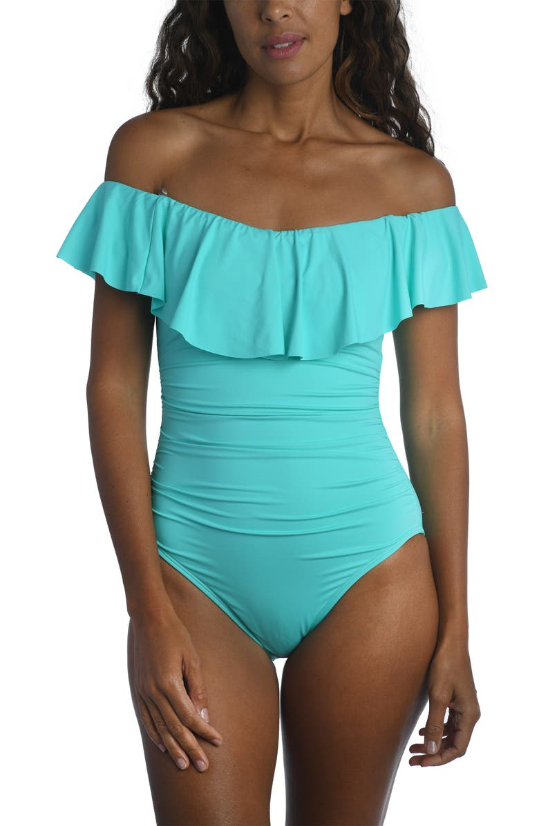 LA BLANCA Off the Shoulder One-Piece Swimsuit, Main, color, AQUAMARINE