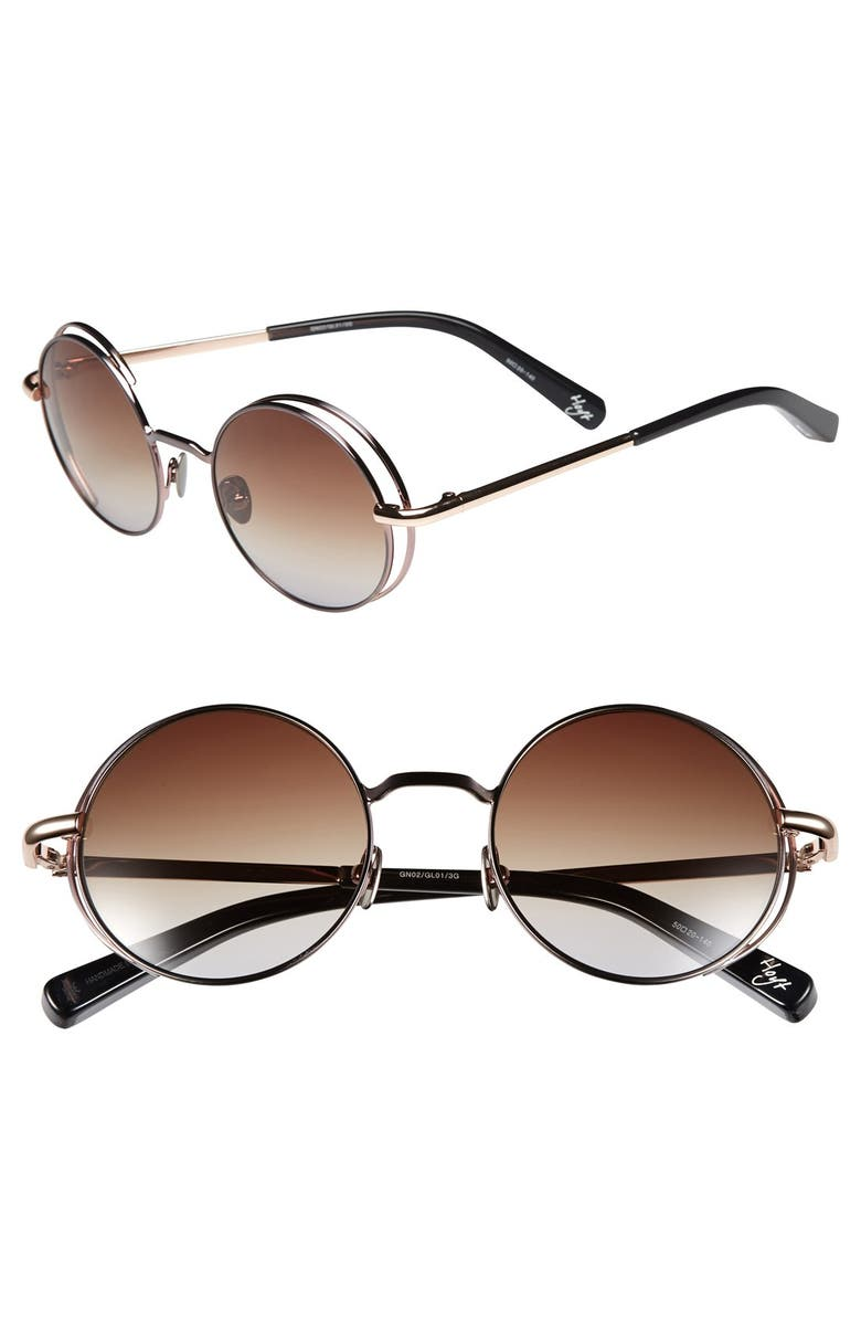 ELIZABETH AND JAMES 'Hoyt' 50mm Sunglasses, Main, color, SHINY GUNMETAL WITH BROWN