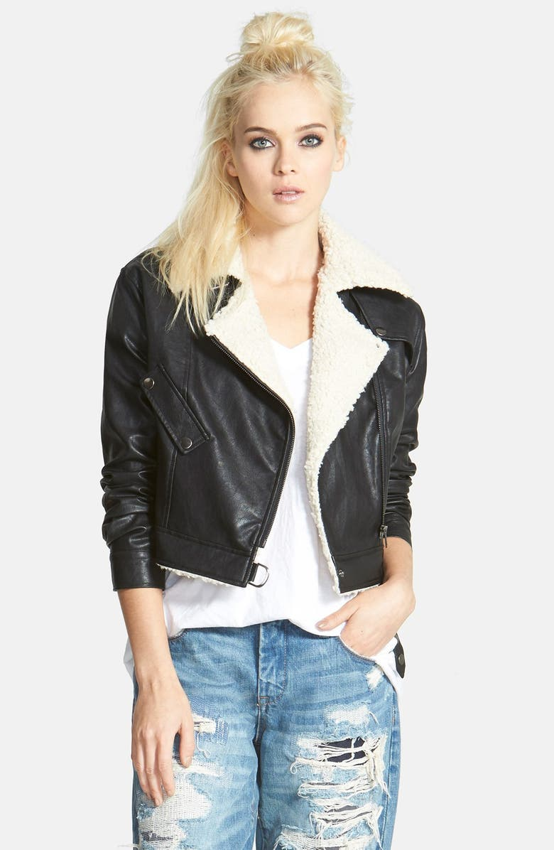ASTR THE LABEL ASTR Faux Shearling Moto Jacket, Main, color, 001