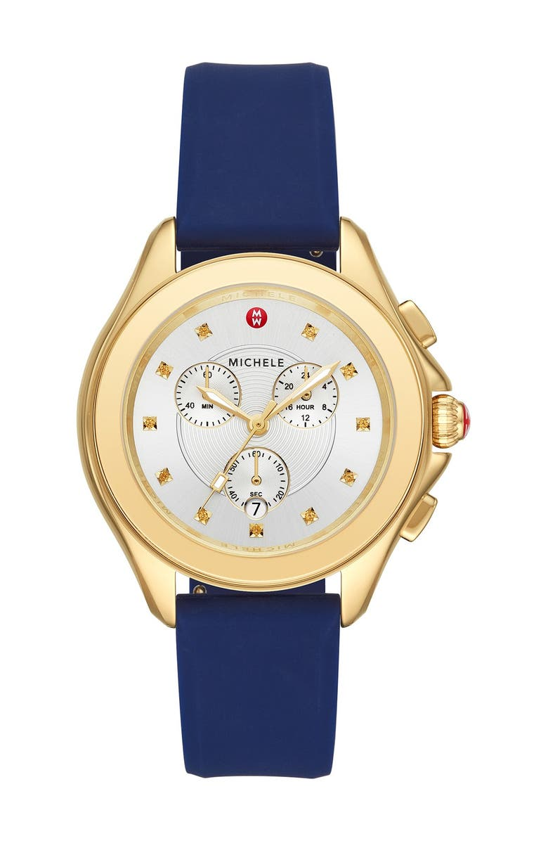 MICHELE Women's Cape Yellow Topaz Navy Silicone Strap Watch, 40mm, Main, color, NO COLOR