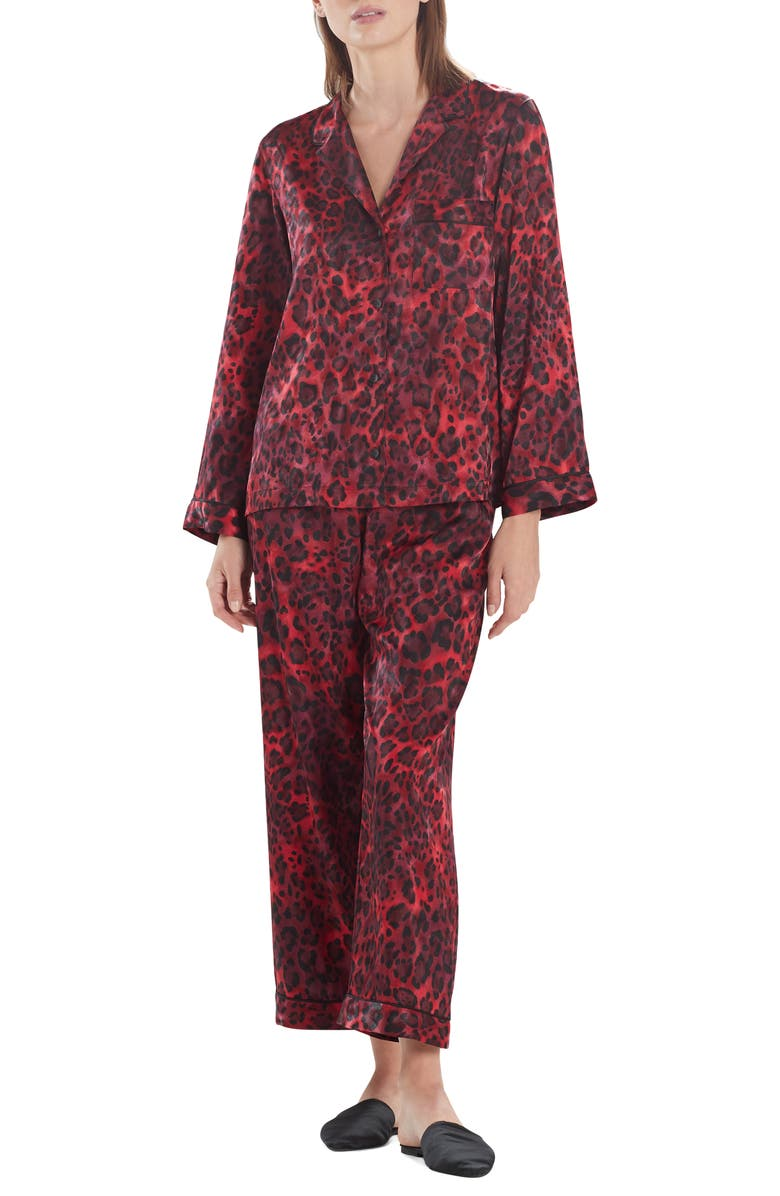 NATORI Cheetah Print Pajamas, Main, color, BROCADE RED