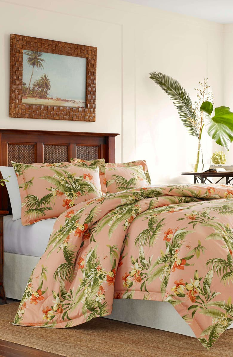 TOMMY BAHAMA Siesta Key Comforter, Sham & Accent Pillow Set, Main, color, CANTALOUPE