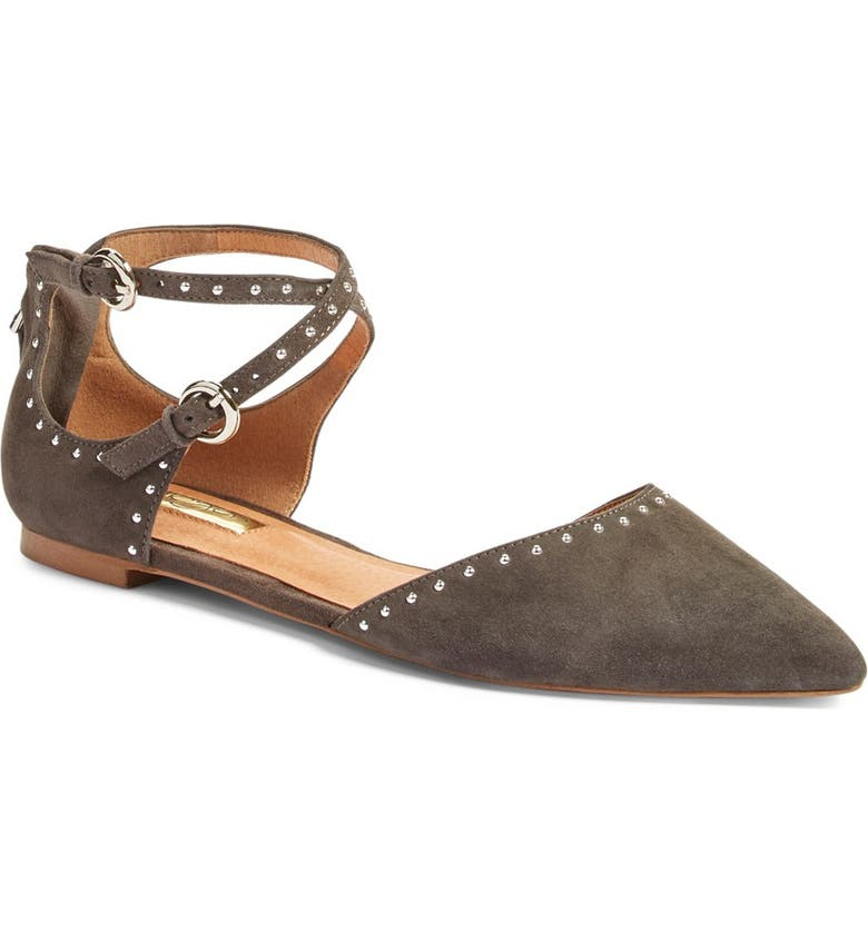 HALOGEN<SUP>®</SUP> 'Bristal' Ankle Strap Pointy Toe Flat, Main, color, 020