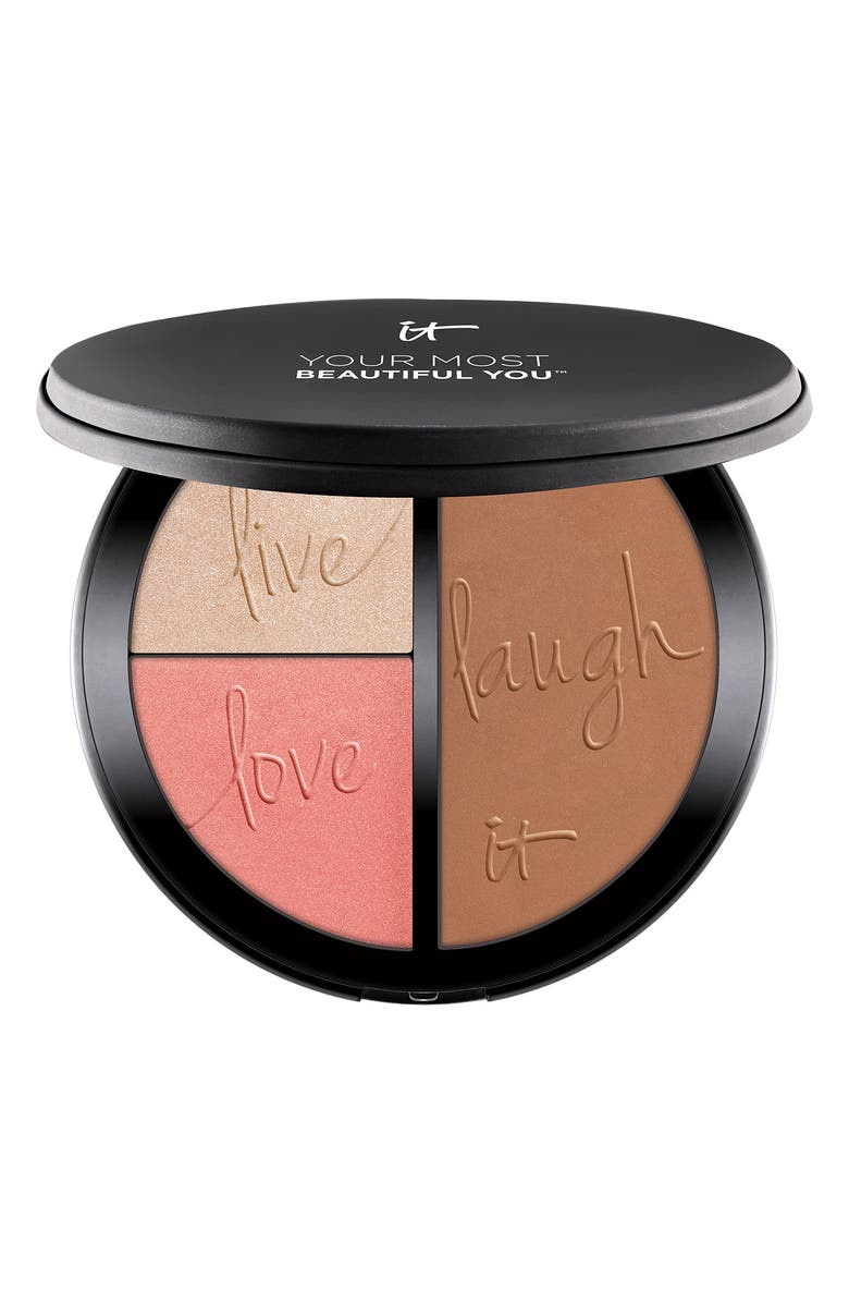 IT COSMETICS Most Beautiful You Anti-Aging Matte Bronzer, Radiance Luminizer & Brightening Blush Palette, Main, color, NO COLOR