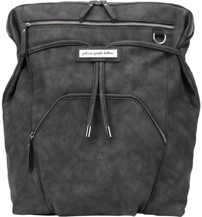 PETUNIA PICKLE BOTTOM Convertible Diaper Backpack, Main, color, MIDNIGHT LEATHERETTE