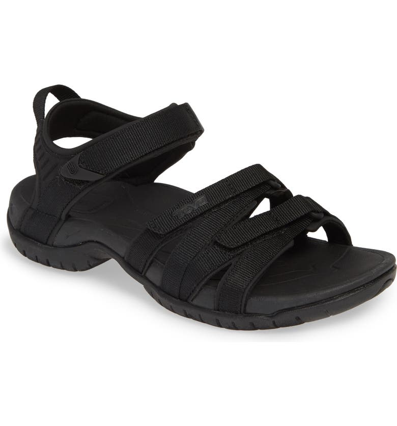 TEVA 'Tirra' Sandal, Main, color, BLACK/ BLACK FABRIC