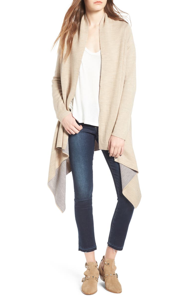 LOVE BY DESIGN Two-Tone Open Front Cardigan, Main, color, 250
