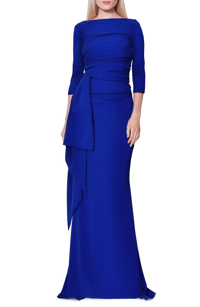 TALBOT RUNHOF Stretch Crepe Mermaid Gown, Main, color, ROYAL