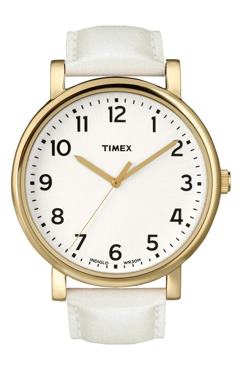 TIMEX<SUP>®</SUP> 'Easy Reader' Leather Strap Watch, 42mm, Main, color, 100