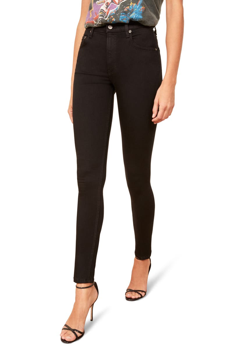 REFORMATION High & Skinny Jeans, Main, color, 001