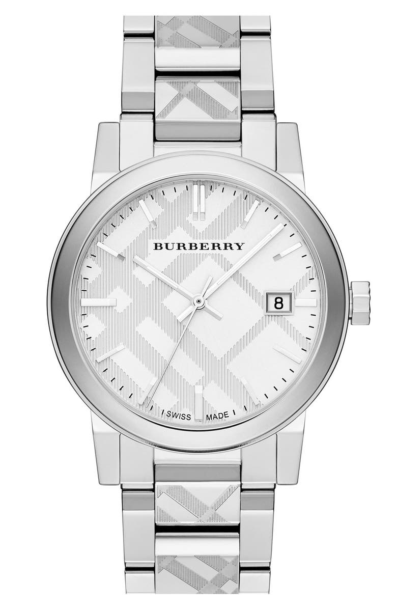 BURBERRY Check Stamped Bracelet Watch, 38mm, Main, color, 040